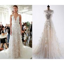 3D цветок лодка шеи свадебное платье моды