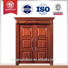 Entrada de design de luxo portas duplas porta principal design material de madeira porta dupla