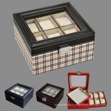 Montre de cuir Montre Boîtes de rangement avec fenêtre claire