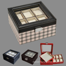 Leather Watch Display Gift Storage Boxes with Clear Window