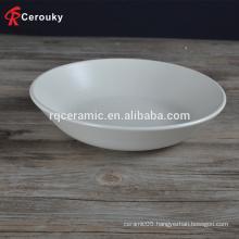 Food safety restaurant hotel use big capacity white stoneware ceramic dish serving bowl