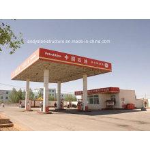 Stahlkonstruktion, Raumrahmendach für Tankstelle Baldachin