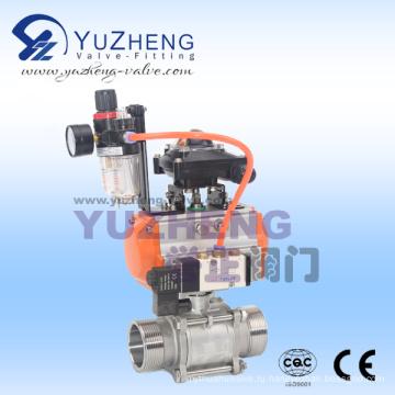 Шаровой кран с наружной резьбой 3PC с пневматическим приводом и компонентами