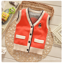 Jacquard sleeveless customized crochet baby cardigan design pattern