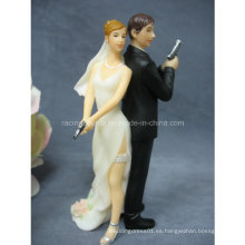 """Espejo atractivo estupendo estupendo de la alta calidad """"casando la novia y el novio Figurine del topper de la torta"""
