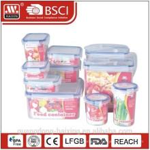 Recipiente de armazenamento de comida de plástico com caixa de cor