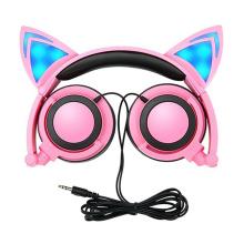 LED Light Up Cat Headphone For Kids Headsets