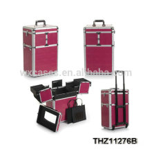 Nueva caja de la carretilla del maquillaje profesional del diseño con la selección de varios colores