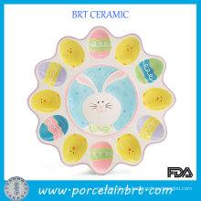 Bandeja de huevo de cerámica de color de dibujos animados