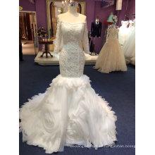 Русалка с длинным рукавом тюль свадебные платья с оборками снизу