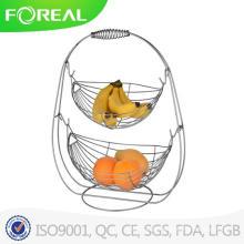 Mais vendido 2 Tier Metal Wire Swing Fruit Basket