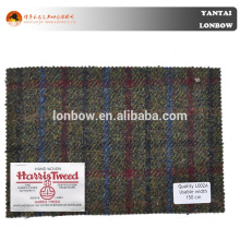 100% wool plaid tweed Harris Tweed woven woolen coat fabric