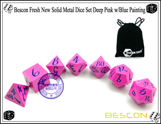 Bescon Fresh New Solid Metal Dice Set Deep Pink with Blue Painting-5