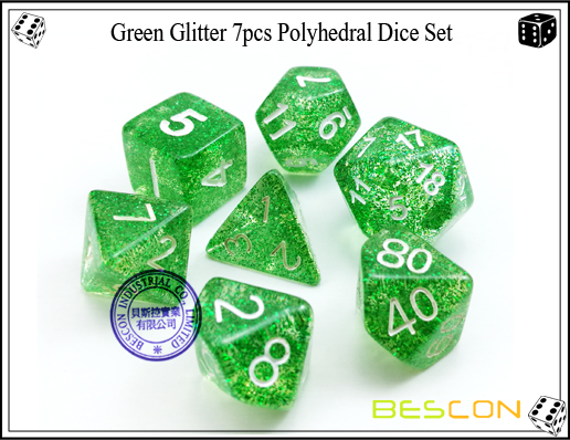 Assorted Colored Glitter 7pcs Polyhedral Dice Set-11
