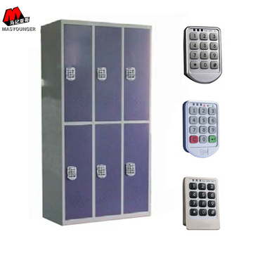 Digital Lock 6 Doors Blue Steel Armadietti