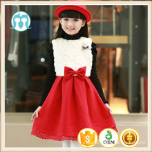 winter kids christmas party lace trim pinafore red bow new year appliqued dress winter hot sale fur clothes children