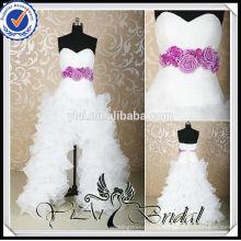 RSW455 короткий передний долго назад милая декольте ruched фиолетовый и белый свадебные платья