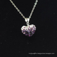 Wholesale Heart Shape New Arrival Double Colors White and Purple Crystal Clay Shamballa With Silver Chains Necklace