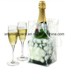 Promotional Portable Plastic PVC Wine Bottle Cooler Box Ice Bag
