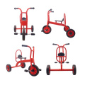 Double seat metal tricycle with wagon