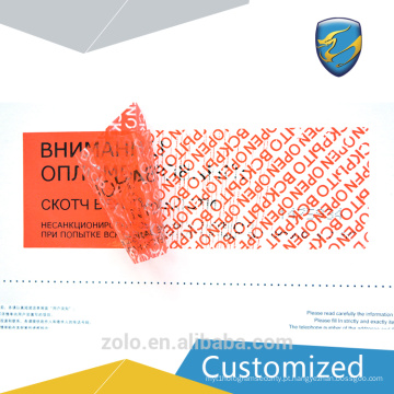 Nova marca 2017 Adhesive Tamper Proof Carton Label Com Logo Cutomised para máquina de embalagem de alimentos