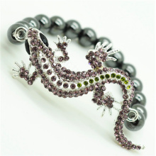 Pulsera Hematite de 8MM con cuentas redondas Stretch Gemstone con Diamante alloy fox Head Piece