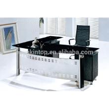 2015 nueva mesa de cristal de la oficina del diseño con la tabla de la oficina de la L-forma