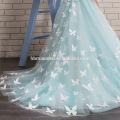 Vestido largo del ángel del cordón de la flor larga del color blanco y azul de la nueva moda del diseño para la niña