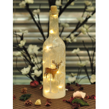 Xmas LED Glass Bottle with Reindeer