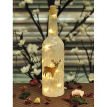Bouteille de Noël en verre avec rennes