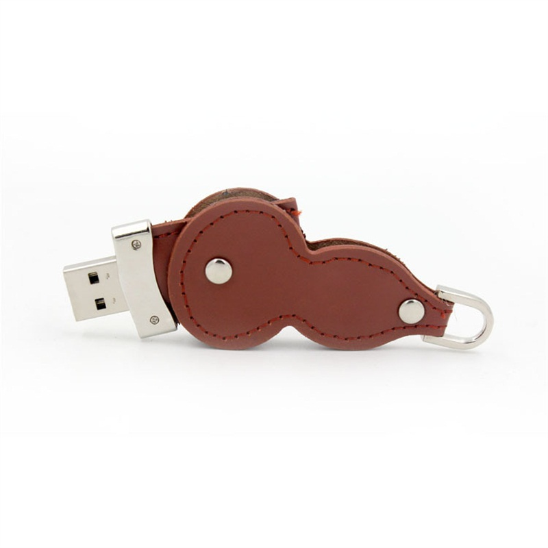 Giveaways Leather Gourd Shape Usb Flash Drive