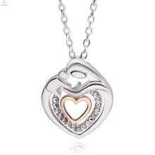 Le meilleur collier de pendentif en cristal de coeur de double de bijoux de jour de mère faite sur commande