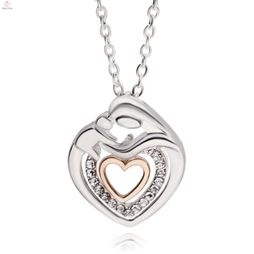 The Best Custom Mother's Day Jewelry Double Heart Crystal Pendant Necklace