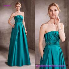 Vestido de noche drapeado blusa con bordado de piedras preciosas adorna el lado de la cintura