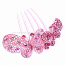 Metal Alloy Pink Butterfly Hair Clip with Part Polished Surface, Elegant and Charming