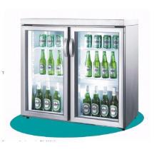 Refrigerador frio da exposição da bebida da cerveja de vidro dobro da porta
