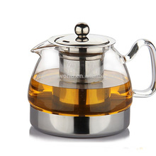Amazon Hot Selling Pyrex Borosilicate Clear Glass Teapot For Gas Cooker