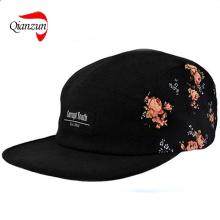 Schwarze Blumenseiten-5panels-Hut-Lager-Kappe Supreme ruhiges Leben Huf (QZ-LW-010)