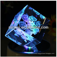 Valentine Day!3D Laser Engraved Crystal rose flower For Gift