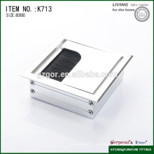 Caja de alambre cuadrado de escritorio de oficina, tapa de agujero de cable / tapa de alambre