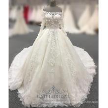 Vestidos de novia nupciales hechos a la medida del hombro Vestidos paquistaníes de Tulle de Tulle