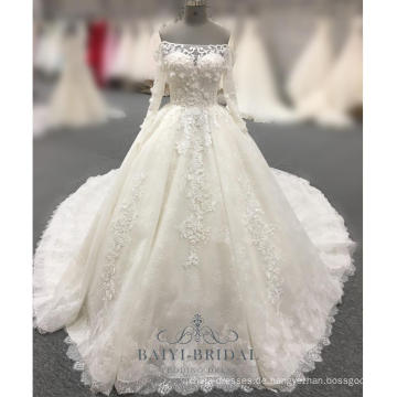 Nach Maß weg von der Schulter-Brauthochzeits-Kleider Elfenbein-Tulle-pakistanischen Kleidern