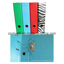 Lever arch arquivo com Punch zebra impressão pasta de arquivos