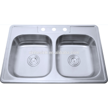 Topmounted Stainless steel double bowl used kitchen sinks for sale