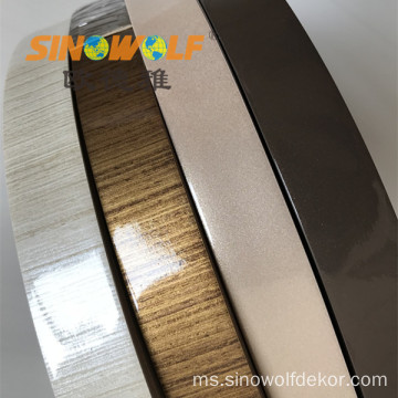 Silver High Gloss PVC Woodgrain Edge Banding