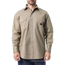 FR Work Shirt Camisas de trabajo de manga larga para hombre