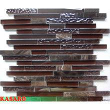 Brown Strip Glass Stone Mosaic Tile Home Depot (KSL135108)