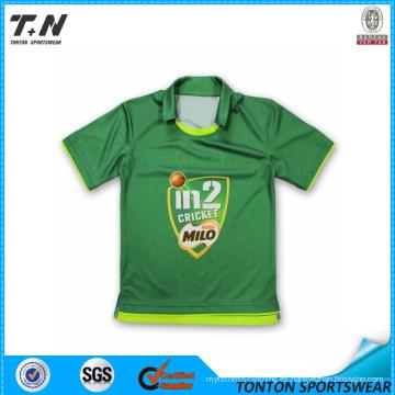 100% poliéster Cricket Uniformes jersey con patrón