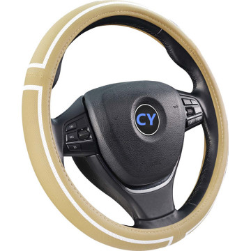 pu steering wheel cover with white line