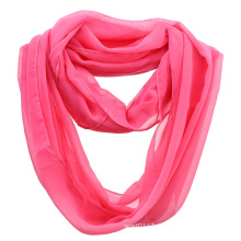 Girls Fashion Plain Color Polyester Chiffon Summer Infinity Scarf (YKY1110)